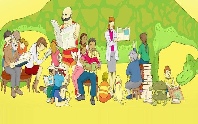 Ilustración de niños junto a sus padres leyendo diferentes libros