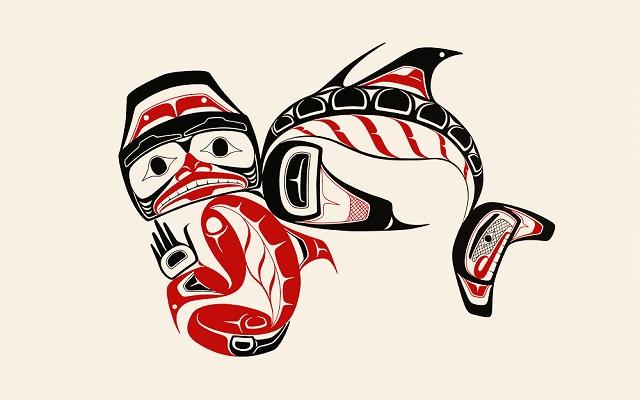 Imagen de serigrafía de un Tiburón espinoso y espíritu por Norman Tait indígena canadiense