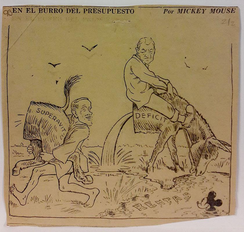 En el burro del presupuesto. Caricatura de José Gómez (Mickey Mouse). El País, 21 de septiembre de 1934. Imagen exclusiva de divulgación, prohibido su uso.