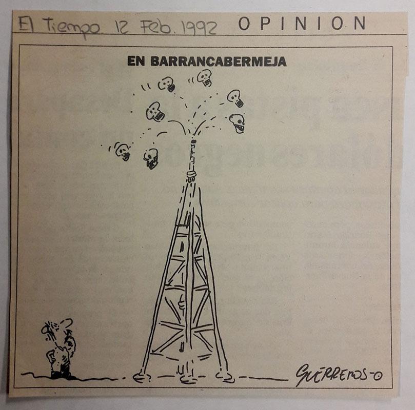 En Barrancabermeja. Caricatura de Guerreros. El tiempo, 12 de febrero de 1992. Recorte de prensa. Imagen exclusiva de divulgación, prohibido su uso.
