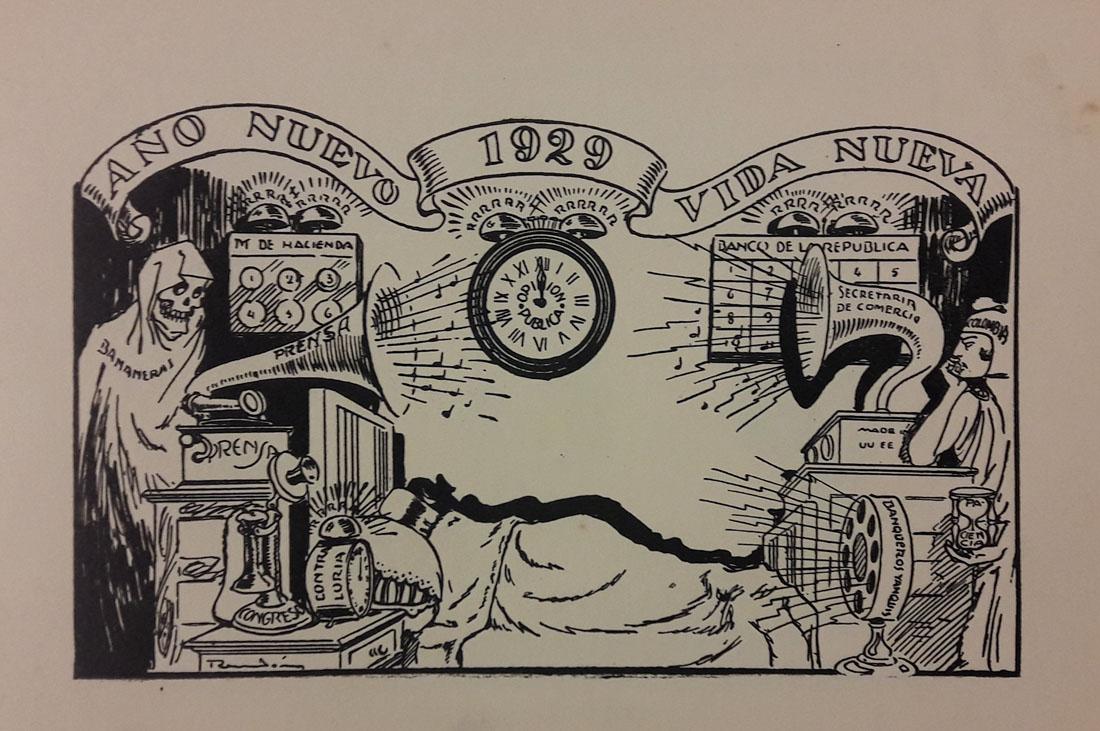 Año nuevo vida Nueva. 1929. Caricatura de Ricardo Rendón. En Rendón. Caricaturas. Tomo I. Bogotá, Editorial de Cromos, [1930?]. Imagen exclusiva de divulgación, prohibido su uso.