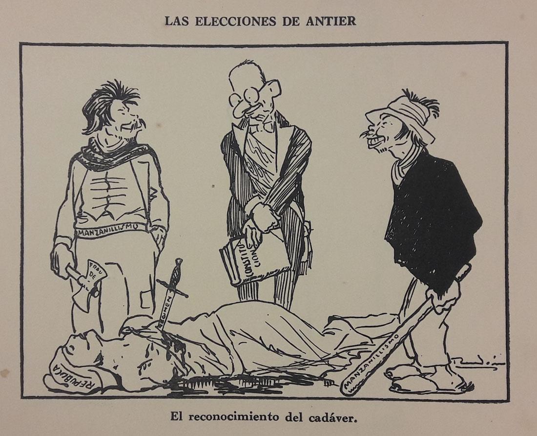 Las elecciones de antier. Caricatura de Ricardo Rendón. En Rendón. Caricaturas. Tomo I. Bogotá, Editorial de Cromos, [1930?]. Imagen exclusiva de divulgación, prohibido su uso.