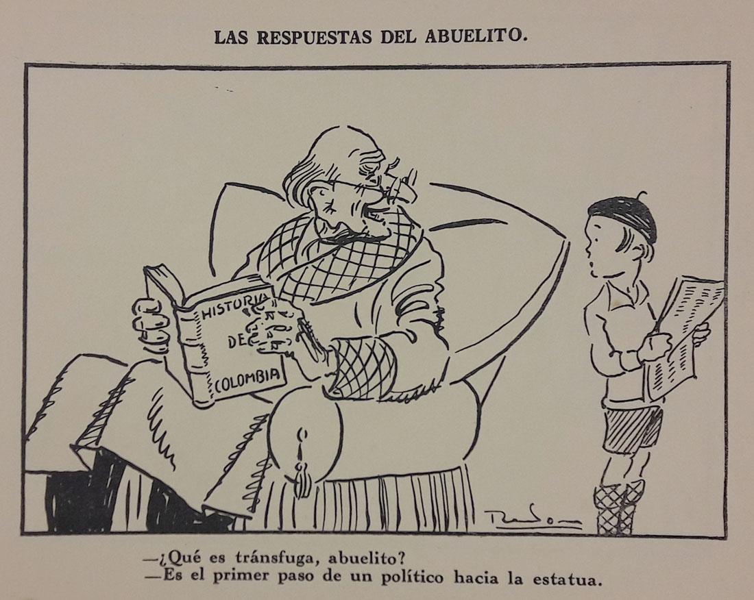 Las respuestas del abuelito. Caricatura de Ricardo Rendón. En Rendón. Caricaturas. Tomo I. Bogotá, Editorial de Cromos, [1930?]. Imagen exclusiva de divulgación, prohibido su uso.