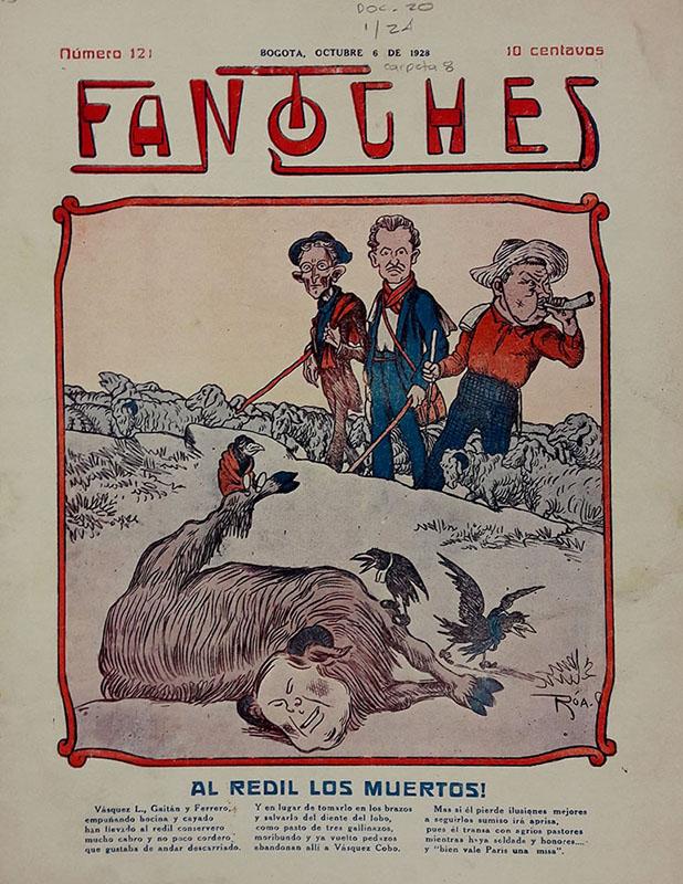 El redil de los muertos. Caricatura de Roa. Portada de la revista Fantoches, 6 de octubre de 1928. Imagen exclusiva de divulgación, prohibido su uso.