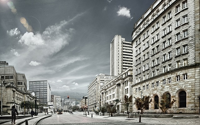 Edificio Cubillos (derecha) sobre la Avenida Jiménez de Bogotá.