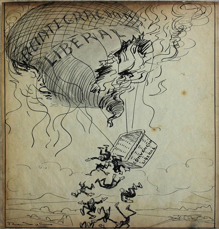 El Despiporre. Echando globos. Caricatura alusiva a la crisis del Partido Liberal. Diario la República, 13 de diciembre de 1921.