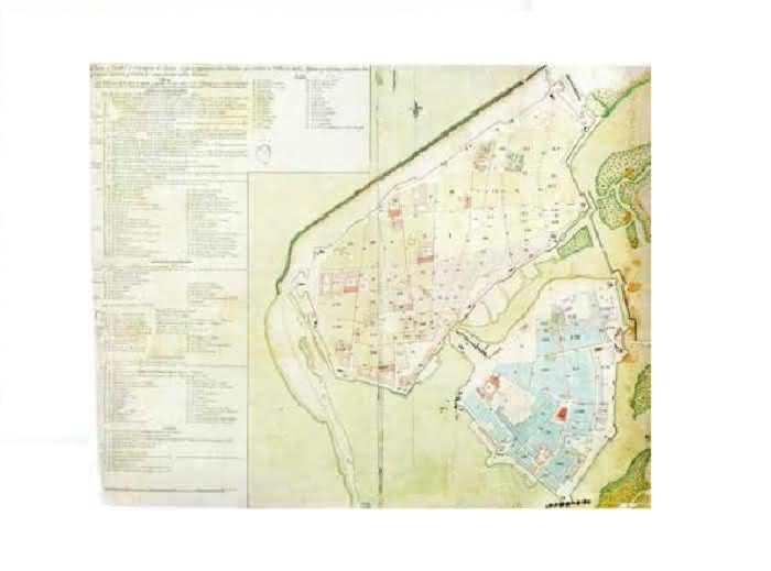 Plano de Cartagena de Indias de don Manuel de Anguiano, de 1809. Servicio Histórico Militar Nº 50957/e- 7-201. Fuente: Terán, 1989.