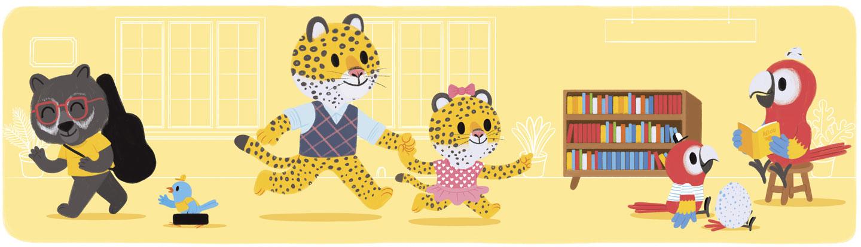ilustración de animales en un centro cultural