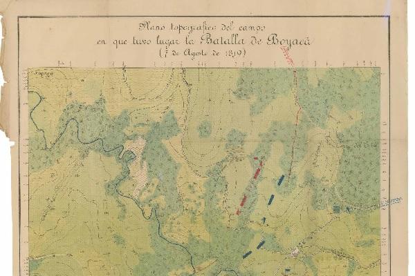 Plano topográfico del campo en que tuvo lugar la Batalla de Boyacá, 7 de agosto de 1819