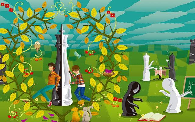Ilustración de personas jugando y leyendo en un jardín