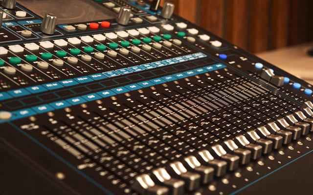 Detalle de mezclador de audio